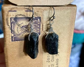 Black Tourmaline Strung-Out guitar string earrings organic tourmaline protection