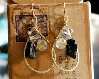 Bee Fabulous - Strung-Out guitar string necklace and earring set with rutilated quartz smokey quartz black tourmaline