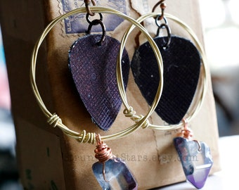 Strung-Out guitar string hoop earrings with purple leather and crystal points