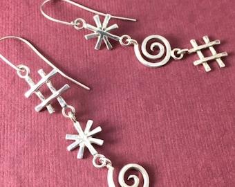 Cursory Earrings: Sterling Silver Cartoon Cursing Swear Word Symbols Dangles