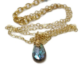Labradorite Teardrop Pendant, Gifted Collection, Gold Filled, Wire Wrapped Necklace, Blue Gemstone, Boho, AB Finish, Adjustable Chain