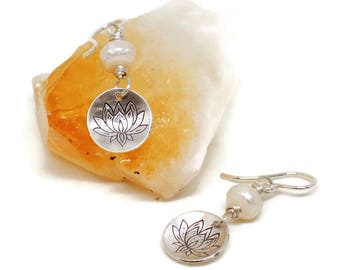 Sterling Silver Lotus Earrings, Karmic Serenity Collection, faceted, White, Pearl, Hand Stamped, Flower, Charm, Domed, Wire Wrapped, Simple