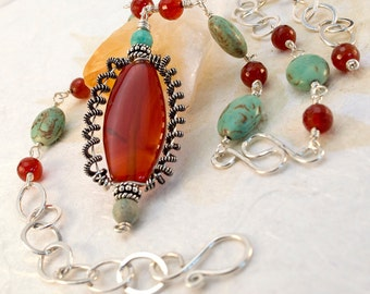 As Seen On TV Cedar Cove, Sterling Silver Carnelian Wire Wrap Necklace, Gifted Collection, Magnesite, Tribal, wire weave,Statement adjustabl