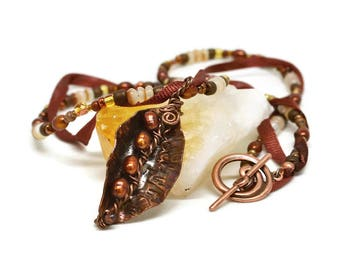 Copper Leaf Necklace, Luxe Originals Collection, Handmade, Hammered Metal, Wire Wrapped, Brown Pearls, Neutral Glass Beads, Silk Ribbon
