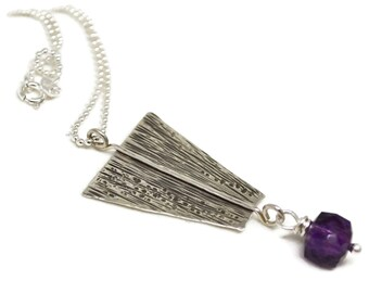 Sterling Silver Amethyst Necklace, Talisman Collection, Hammered, Metalwork, Pendant, Faceted Gemstone, Wire Wrapped, Ball Chain, Minimalist