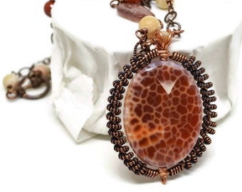 Copper Wire Wrap Statement Necklace, Luxe Collection, Chunky, Statement, Crabfire Agate, Sunstone, Honey Jade, Poppy Jasper, OOAK, Bold Big