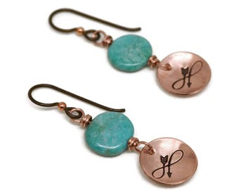 Copper Infinity Earrings, Karmic Serenity Collection, Turquoise, Hand Stamped, Arrow, Charm, Domed, Wire Wrapped, Simple, oxidized, niobium