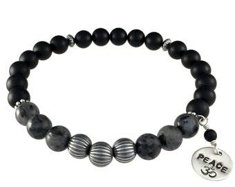 Unisex Gemstone Bracelet, Karmic Serenity Collection, Sterling Silver, Black, Onyx, Larvikite, Beaded, Charm, Healing, Stackable