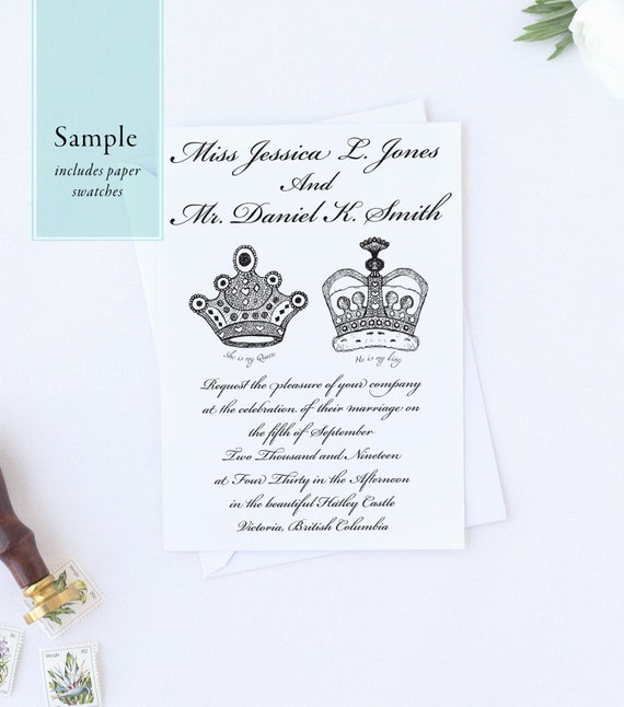 Sample Wedding Invitation Suite King And Queen Royal Wedding Includes Invitation Response Card Envelopes And Paper Samples