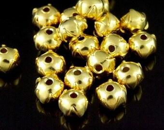 KG-185 thai karen hill tribes silver 50 gold vermeil plain cubic small spacer bead