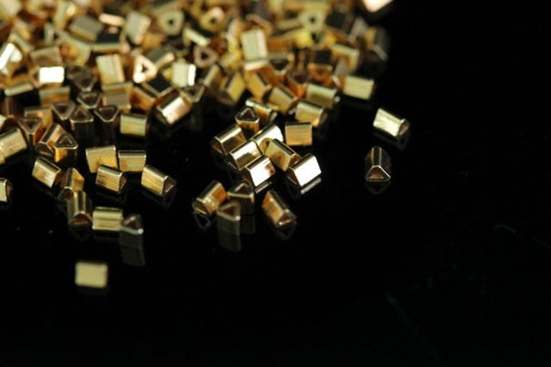 KG-597 thai karen hill tribes silver 40 gold vermeil mini triangle bead