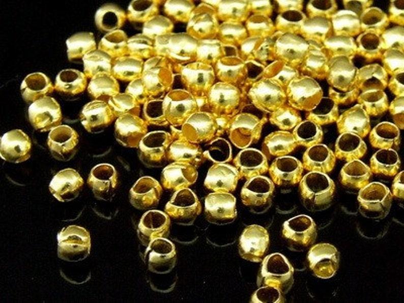 KG-221 thai karen hill tribes silver 60 gold vermeil mini plain round spacer bead