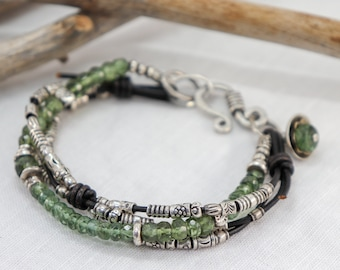 Green Apatite with Fine Silver and knotted Leather Bracelet