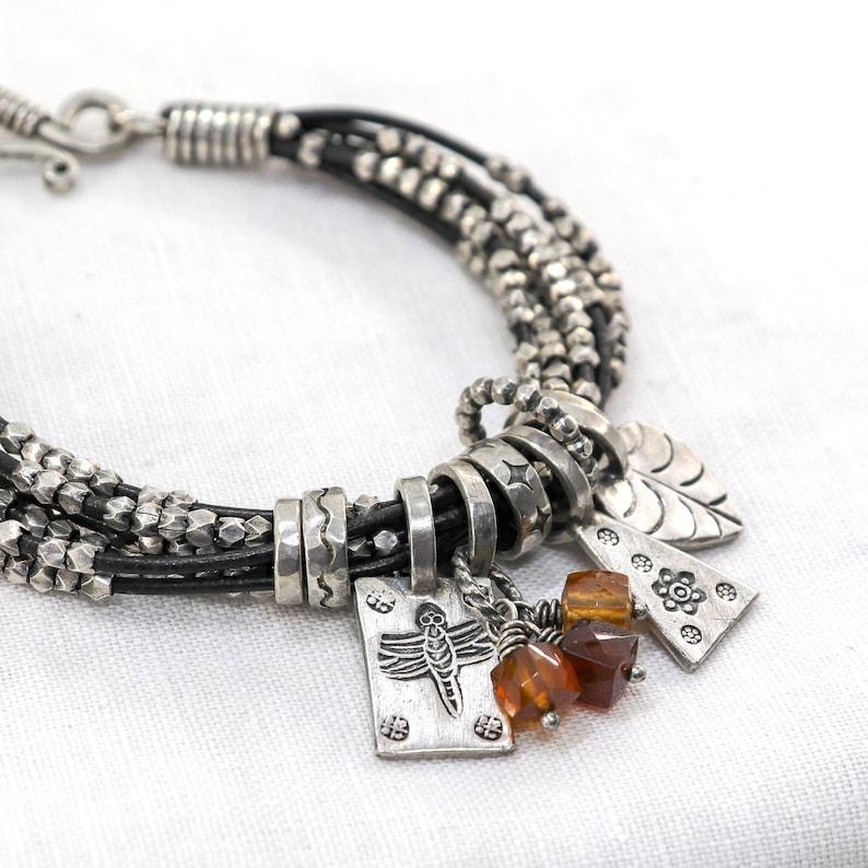 Silver and Hessonite Garnet Charm Bracelet image 0
