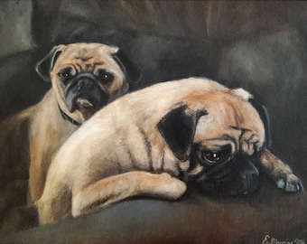 """Your Own 9"""" x 12"""" Custom Pet Portrait Oil Painting on Linen Canvas Board"""