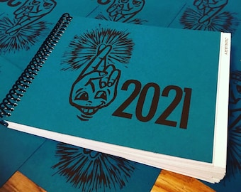 CLEARANCE! 2021 PLANNER: The Year of the Optimist - beautiful, fun & productive handmade planner with block-printed cover