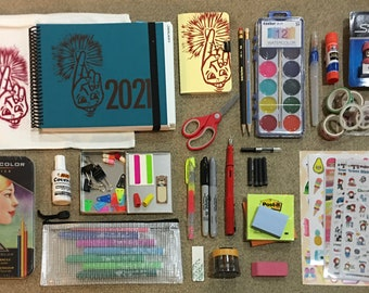 CLEARANCE! 2021 PLANNER BUNDLE: The Year of the Optimist Übergift, beautiful, fun & productive handmade block-printed cover + goodies galore