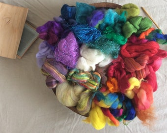 Unicorn Poops COLOR BOMB a pound of mixed fibers to card, spin, and felt