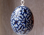 Egg Ornament - Navy blue, white and black