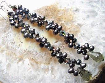 Charcoal Quartz Lantern Teardrop Gems & Freshwater Pearl Earrings, Woven, Oxidized Silver