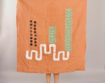 Organic Linen Block Print Tapestry, Tablecloth - Honey with Seaweed/Black Dots/White Snakes