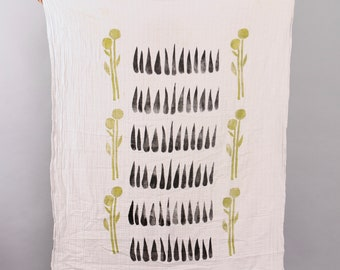 Organic Cotton Double Gauze Block Print Baby Blanket - Green Vines/Black Seeds