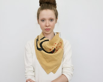 Organic Linen Block Print Scarf - Gold with Black Bowls/Red Dots/ White Snakes