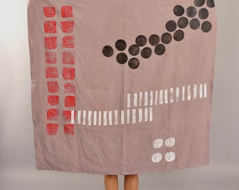 Organic Linen Block Print Tapestry, Tablecloth - Lavender with Black Dots/Minimal Strawberries