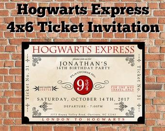 4x6 Custom Printable Hogwarts Express Ticket Invitation