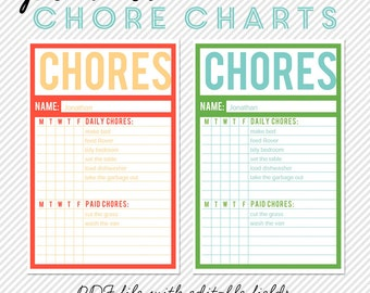 Printable Chore Charts - Editable PDF