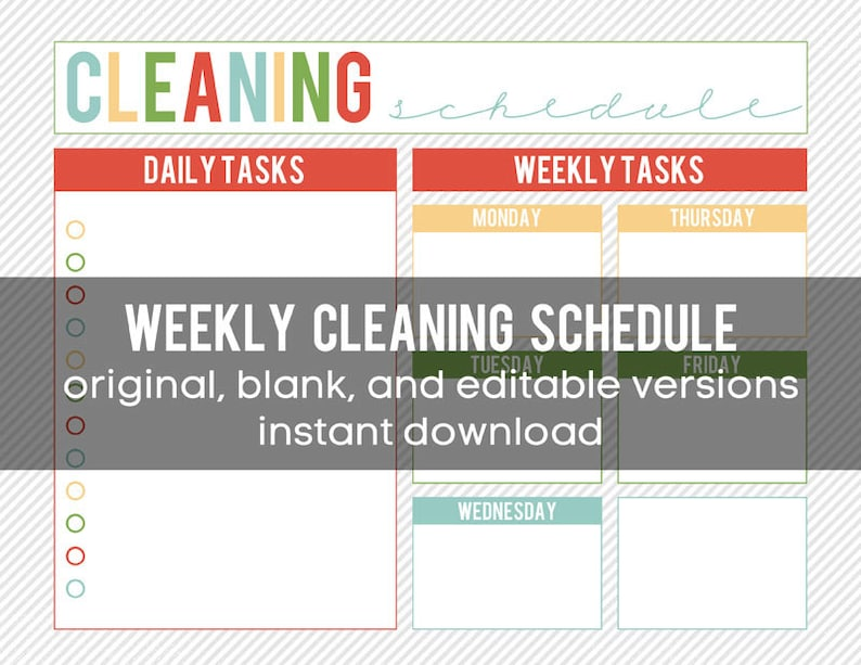 graphic regarding Printable Weekly Cleaning Schedule named Printable Weekly Cleansing Program - editable and Immediate Down load