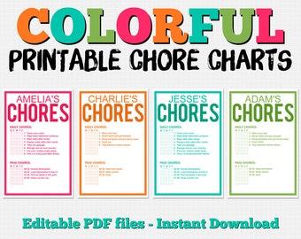 Colorful Customizable Chore Chart Pack - Instant Download