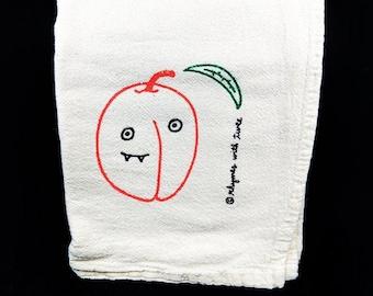 Peach Kitchen Towel, MEL PEACH Fanged Fruit