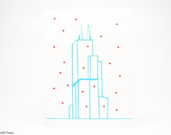 Sears Tower Chicago Christmas Card, set of 50 cards, Season's greetings from Chillycago!