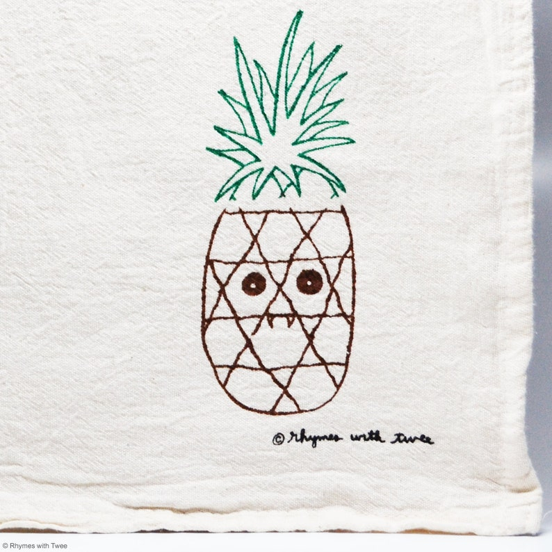 Pineapple Kitchen Towel PUNKY PINEAPPLE Fanged Fruit image 0