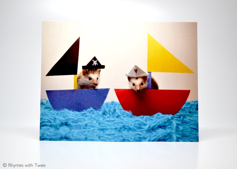 Cute Pirate and Sailor Hedgehogs Postcard set of 2 Alasdair image 0