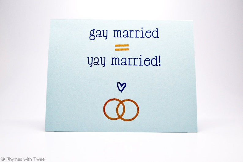 Gay Wedding Card Blue simple gay married equals yay married image 0