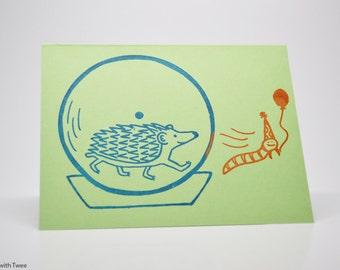 Green Hedgehog Birthday Card, Hope your birthday is wheely great!