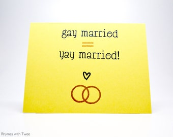 Gay Wedding Card Yellow, simple gay married equals yay married!