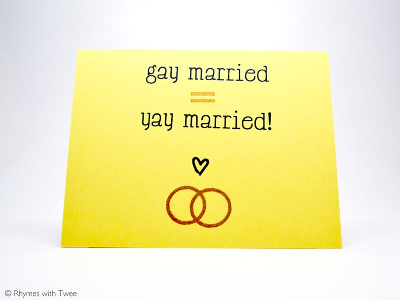 Gay Wedding Card Yellow simple gay married equals yay image 0