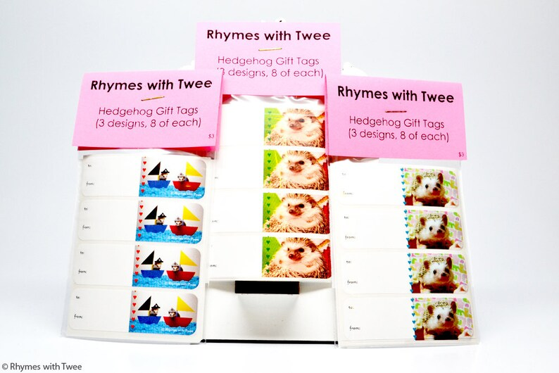 Small Hedgehog Gift Tag Sticker Set of 24 8 of each label in image 0
