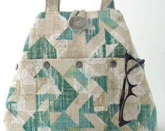 large purse, tote handbag, fabric handbag, shoulder bag, green tote bag, hobo bag, purse with pockets, green purse