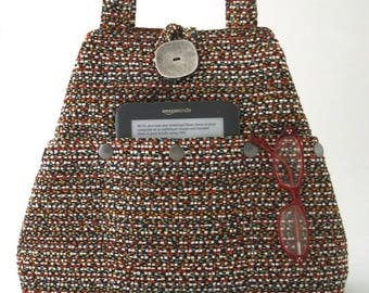 fabric handbag, shoulder bag, tote handbag converts to hobo bag, fabric purse, everyday bag with pockets, gift for women