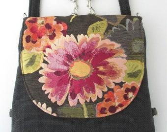 backpack purse, messenger crossbody bag ,convertible bag, fabric tote bag , shoulder handbag, everyday purse, zipper bag, fit ipad