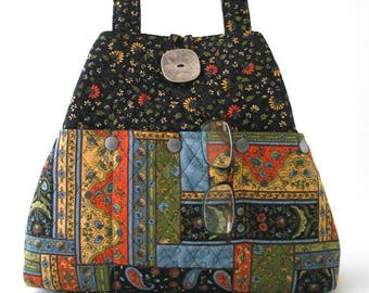 quilted tote bag with pockets, fabric shoulder bag, diaper bag, ladies handbag, black tote purse, gift for her