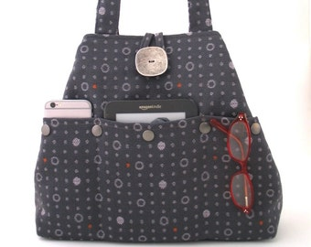 gray handbag, fabric tote bag, grey purse, shoulder bag, diaper bag, multi pocket bag , shoulder purse, hobo bag, polka dots