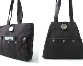 061b0294a05 charcoal grey tote bag, hobo bag, multi pocket bag , diaper bag, tapestry  purse, dark gray handbag, shoulder bag, fabric bag