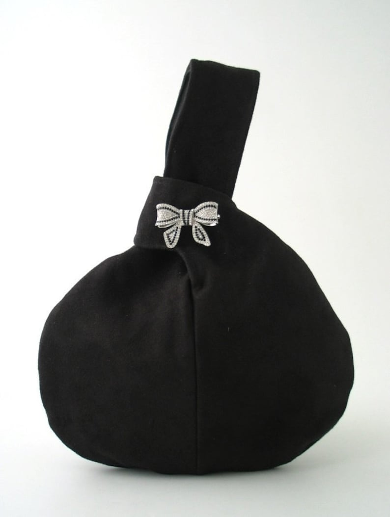 small knot bag black evening bag small black purse Japanese image 0