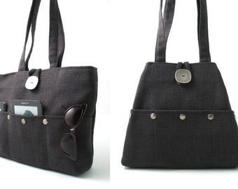 charcoal grey tote bag, hobo bag, multi pocket bag , diaper bag, tapestry purse, dark gray handbag, shoulder bag, fabric bag