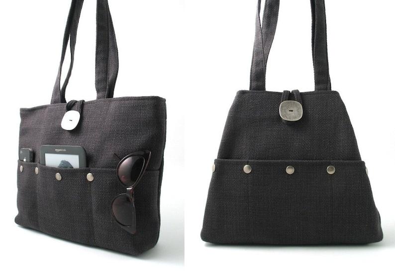 gray handbag fabric tote bag grey purse shoulder bag image 0